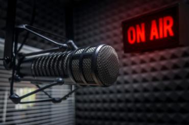 A radio microphone at an OC radio station